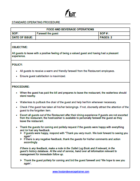 food and beverage service training manual free download